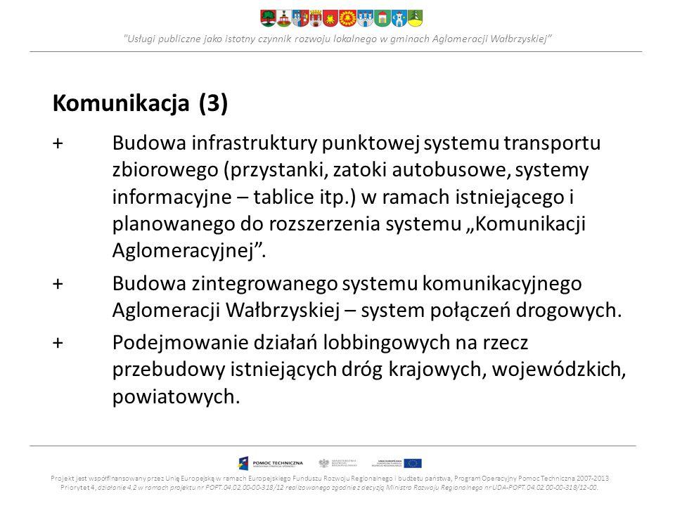"""Usługi publiczne jako istotny czynnik rozwoju lokalnego w gminach Aglomeracji Wałbrzyskiej Komunikacja (3) +Budowa infrastruktury punktowej systemu transportu zbiorowego (przystanki, zatoki autobusowe, systemy informacyjne – tablice itp.) w ramach istniejącego i planowanego do rozszerzenia systemu """"Komunikacji Aglomeracyjnej ."""