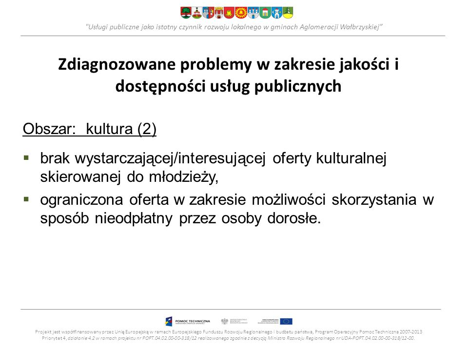 Usługi publiczne jako istotny czynnik rozwoju lokalnego w gminach Aglomeracji Wałbrzyskiej Ochrona zdrowia (1) +Opracowanie i wdrożenie projektów profilaktycznych dot.
