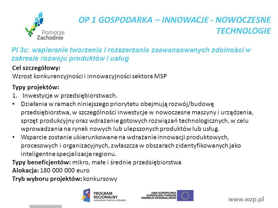 www.wzp.p l PI 3c: wspieranie tworzenia i rozszerzania zaawansowanych zdolności w zakresie rozwoju produktów i usług Typy projektów: 1.Inwestycje w pr