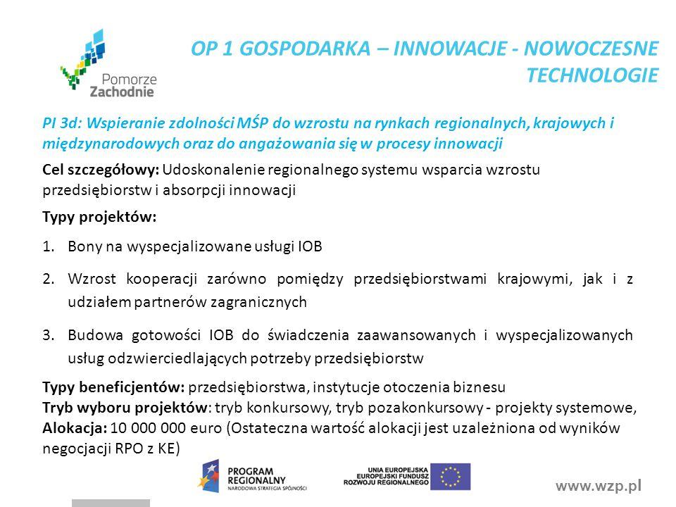www.wzp.p l PI 3d: Wspieranie zdolności MŚP do wzrostu na rynkach regionalnych, krajowych i międzynarodowych oraz do angażowania się w procesy innowac