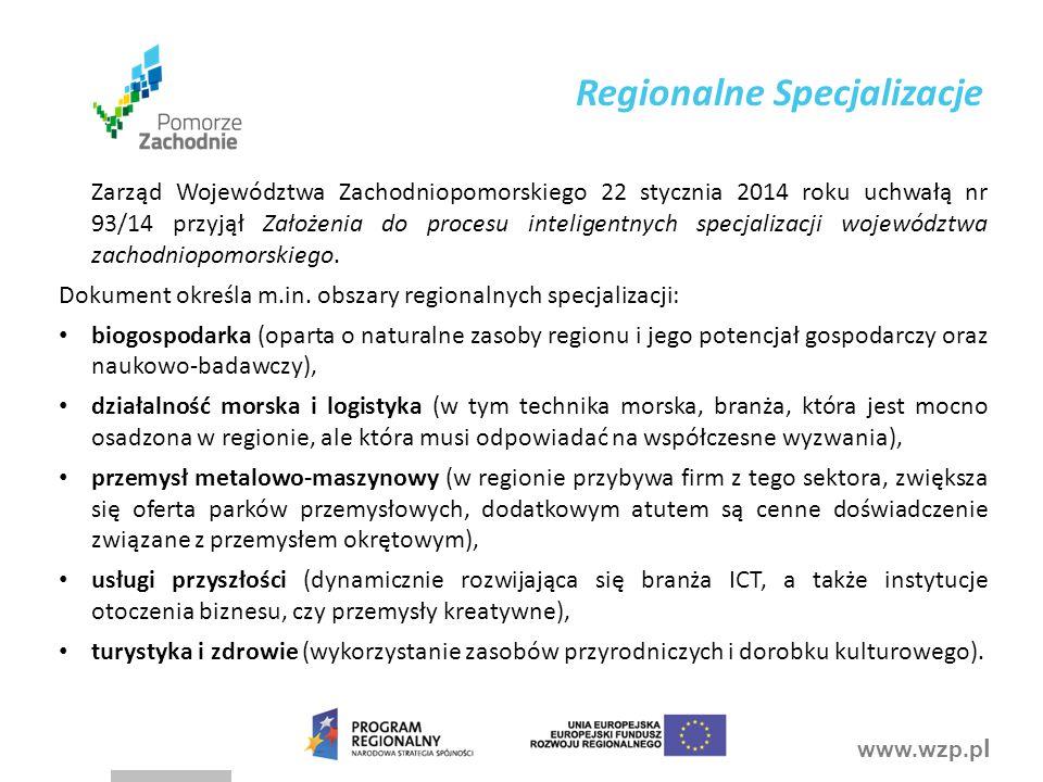 www.wzp.p l Zarząd Województwa Zachodniopomorskiego 22 stycznia 2014 roku uchwałą nr 93/14 przyjął Założenia do procesu inteligentnych specjalizacji w