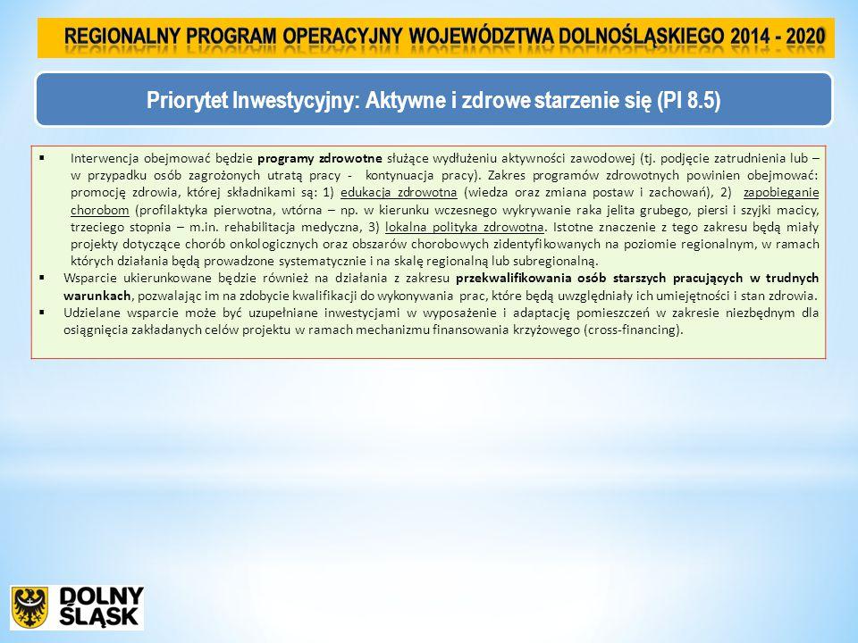 Priorytet Inwestycyjny: Aktywne i zdrowe starzenie się (PI 8.5)  Interwencja obejmować będzie programy zdrowotne służące wydłużeniu aktywności zawodowej (tj.