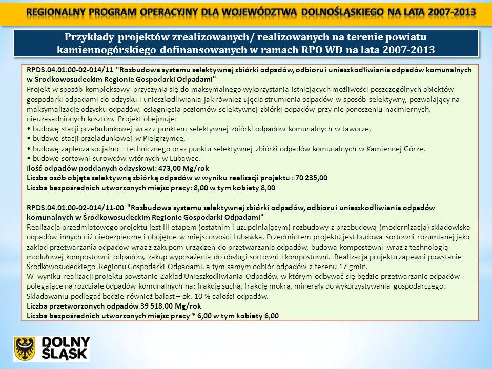 Przykłady projektów zrealizowanych/ realizowanych na terenie powiatu kamiennogórskiego dofinansowanych w ramach RPO WD na lata 2007-2013 RPDS.04.01.00-02-014/11 Rozbudowa systemu selektywnej zbiórki odpadów, odbioru i unieszkodliwiania odpadów komunalnych w Środkowosudeckim Regionie Gospodarki Odpadami Projekt w sposób kompleksowy przyczynia się do maksymalnego wykorzystania istniejących możliwości poszczególnych obiektów gospodarki odpadami do odzysku i unieszkodliwiania jak również ujęcia strumienia odpadów w sposób selektywny, pozwalający na maksymalizacje odzysku odpadów, osiągnięcia poziomów selektywnej zbiórki odpadów przy nie ponoszeniu nadmiernych, nieuzasadnionych kosztów.