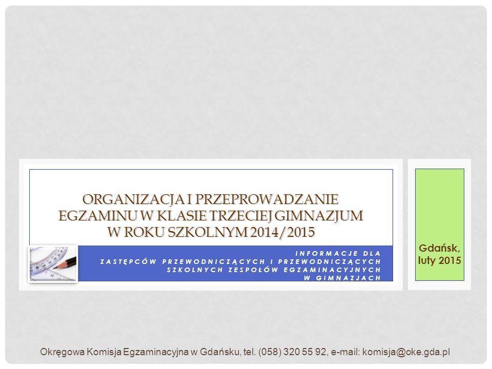 PRZED ROKIEM SZKOLNYM 2014/2015 ZWALNIANIE LAUREATÓW/FINALISTÓW KONKURSÓW/OLIMPIAD ORGANIZOWANYCH PRZED ROKIEM SZKOLNYM 2014/2015 są zwolnieni z odpowiedniej części egzaminu w 2015 roku.