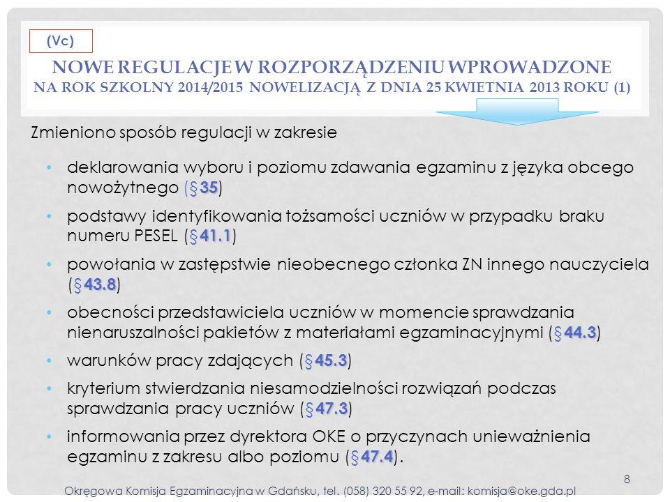NOWE REGULACJE W ROZPORZĄDZENIU WPROWADZONE NA ROK SZKOLNY 2014/2015 NOWELIZACJĄ Z DNIA 25 KWIETNIA 2013 ROKU (1) Okręgowa Komisja Egzaminacyjna w Gdańsku, tel.
