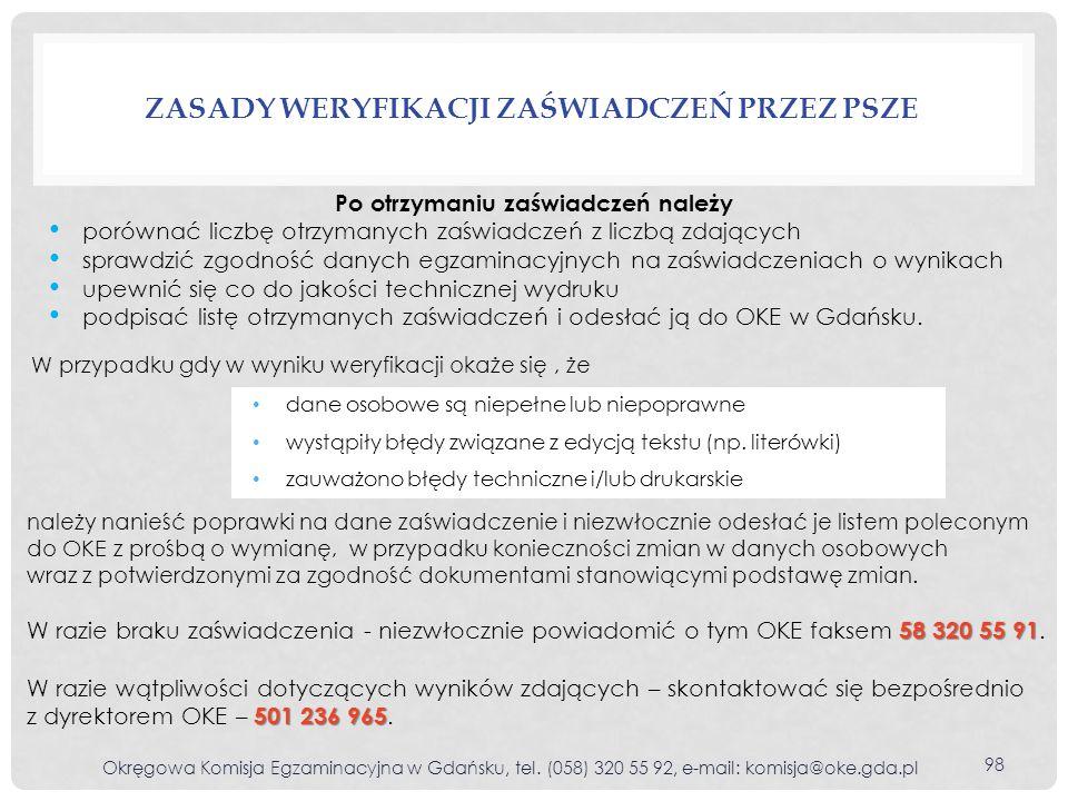 ZASADY WERYFIKACJI ZAŚWIADCZEŃ PRZEZ PSZE Okręgowa Komisja Egzaminacyjna w Gdańsku, tel.