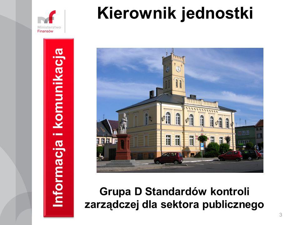 Kierownik jednostki Informacja i komunikacja 3 Grupa D Standardów kontroli zarządczej dla sektora publicznego