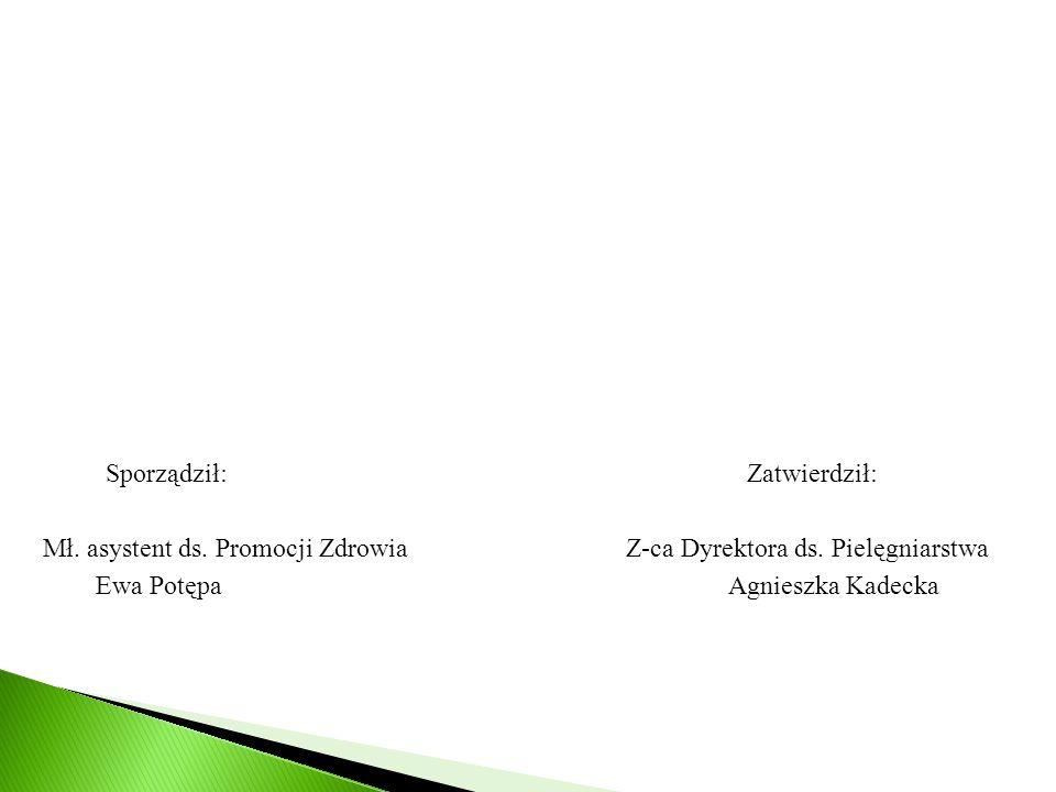 Sporządził: Zatwierdził: Mł. asystent ds. Promocji Zdrowia Z-ca Dyrektora ds. Pielęgniarstwa Ewa Potępa Agnieszka Kadecka