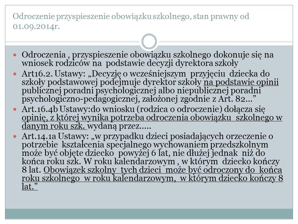 Odroczenie przyspieszenie obowiązku szkolnego, stan prawny od 01.09.2014r.