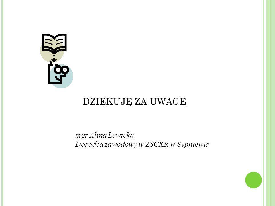 DZIĘKUJĘ ZA UWAGĘ mgr Alina Lewicka Doradca zawodowy w ZSCKR w Sypniewie