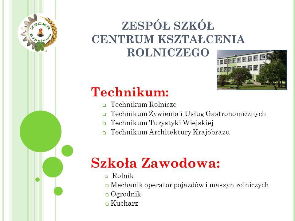 ZESPÓŁ SZKÓŁ CENTRUM KSZTAŁCENIA ROLNICZEGO Technikum:  Technikum Rolnicze  Technikum Żywienia i Usług Gastronomicznych  Technikum Turystyki Wiejsk