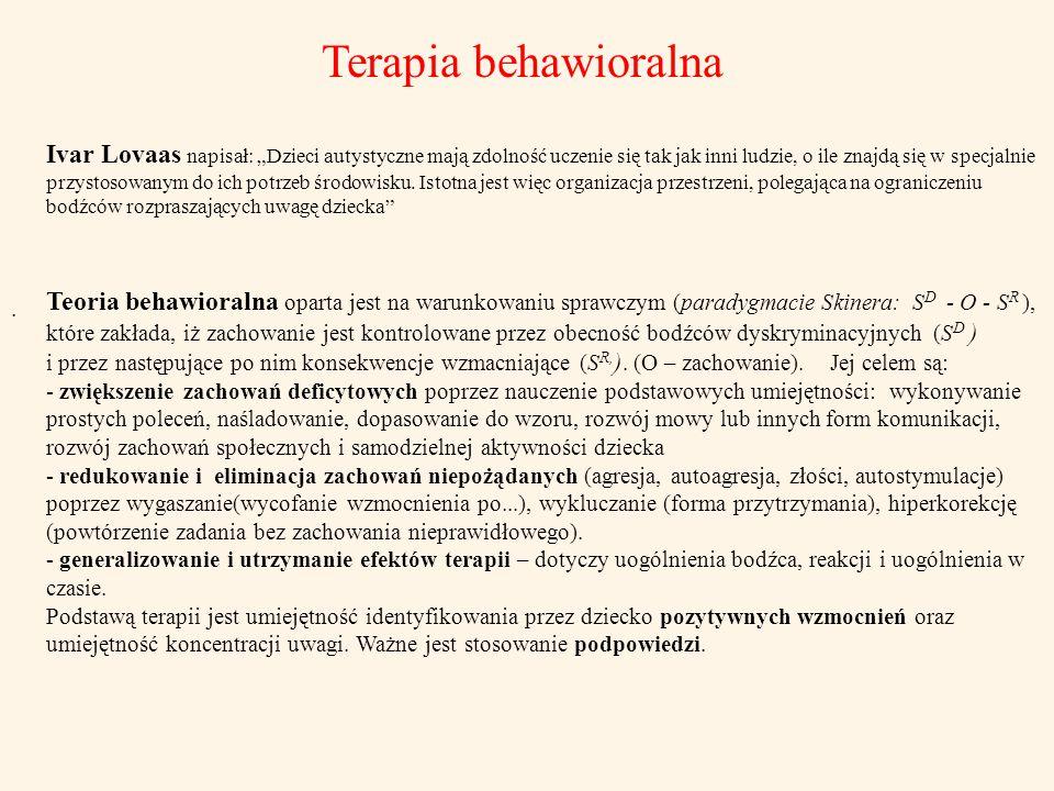 Terapia behawioralna. Teoria behawioralna oparta jest na warunkowaniu sprawczym (paradygmacie Skinera: S D - O - S R ), które zakłada, iż zachowanie j