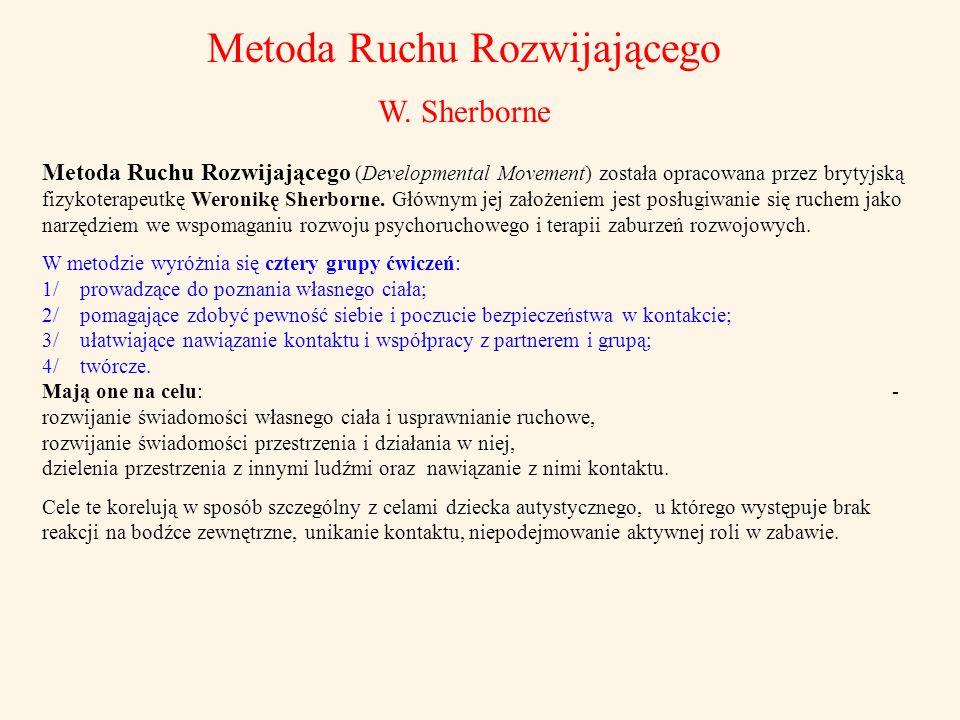 Metoda Ruchu Rozwijającego W. Sherborne Metoda Ruchu Rozwijającego (Developmental Movement) została opracowana przez brytyjską fizykoterapeutkę Weroni