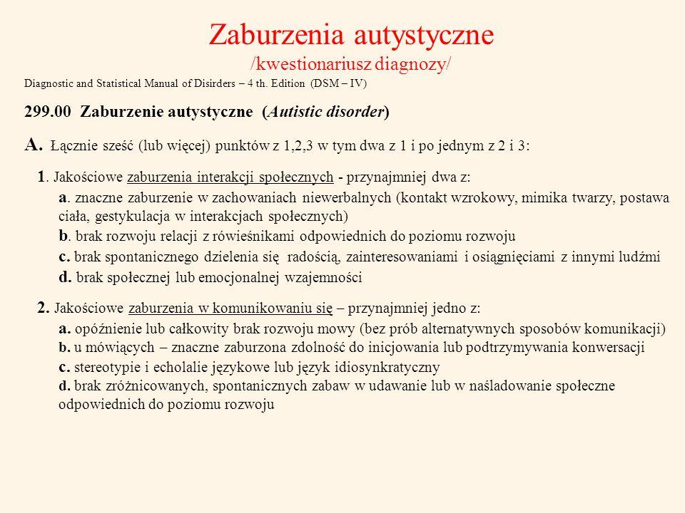 Zaburzenia autystyczne /kwestionariusz diagnozy/ Diagnostic and Statistical Manual of Disirders – 4 th. Edition (DSM – IV) 299.00 Zaburzenie autystycz