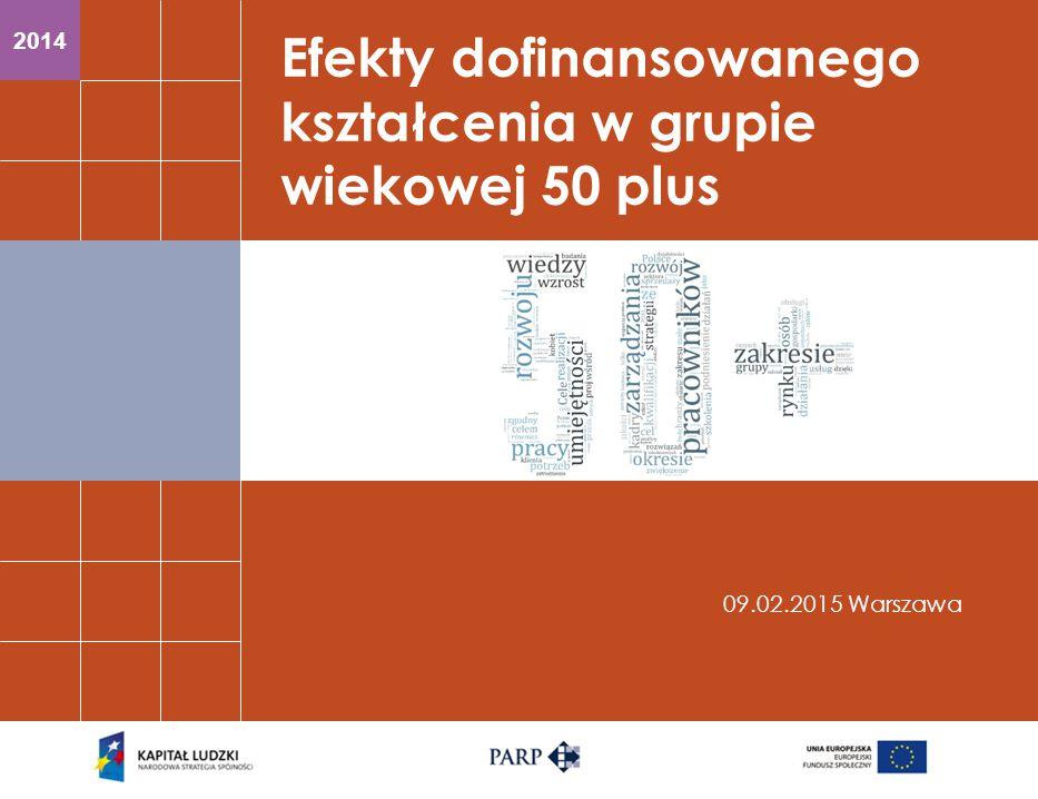 2014 Efekty dofinansowanego kształcenia w grupie wiekowej 50 plus 09.02.2015 Warszawa