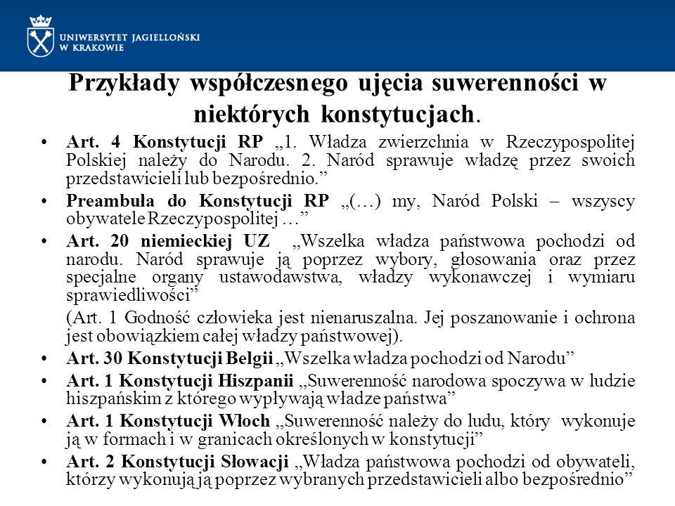 """Przykłady współczesnego ujęcia suwerenności w niektórych konstytucjach. Art. 4 Konstytucji RP """"1. Władza zwierzchnia w Rzeczypospolitej Polskiej należ"""