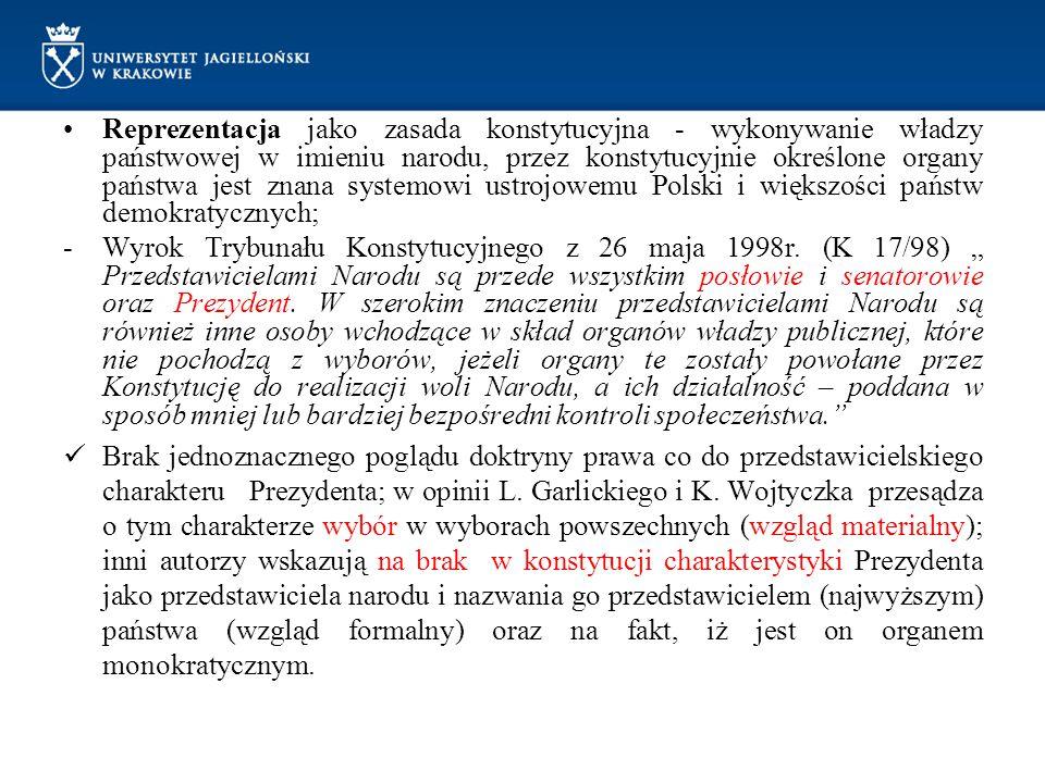 Reprezentacja jako zasada konstytucyjna - wykonywanie władzy państwowej w imieniu narodu, przez konstytucyjnie określone organy państwa jest znana systemowi ustrojowemu Polski i większości państw demokratycznych; -Wyrok Trybunału Konstytucyjnego z 26 maja 1998r.