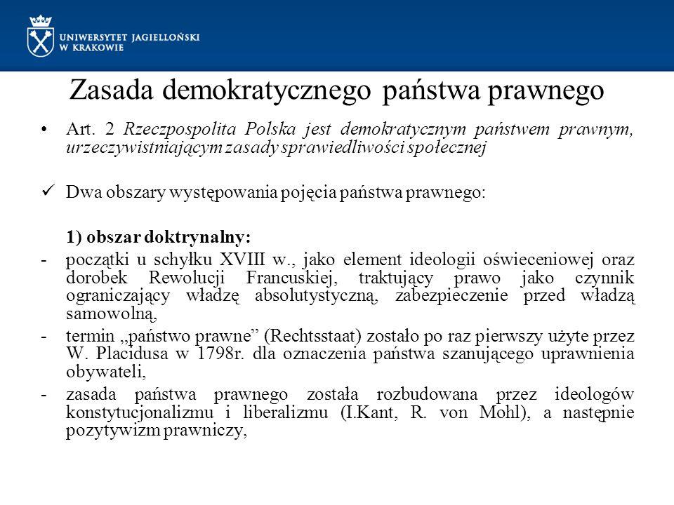 Zasada demokratycznego państwa prawnego Art. 2 Rzeczpospolita Polska jest demokratycznym państwem prawnym, urzeczywistniającym zasady sprawiedliwości