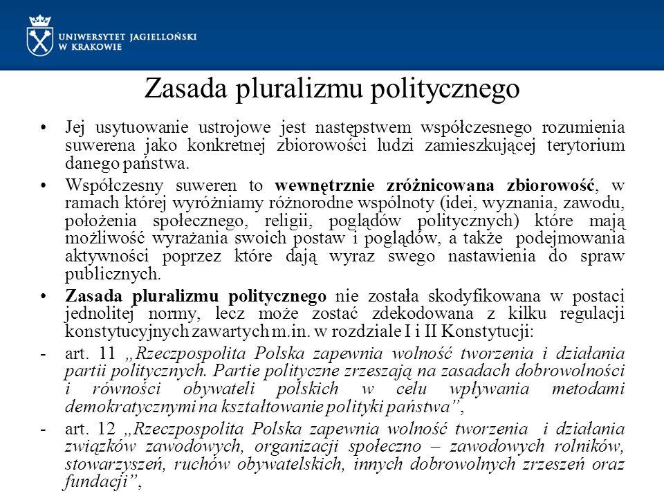Zasada pluralizmu politycznego Jej usytuowanie ustrojowe jest następstwem współczesnego rozumienia suwerena jako konkretnej zbiorowości ludzi zamieszk