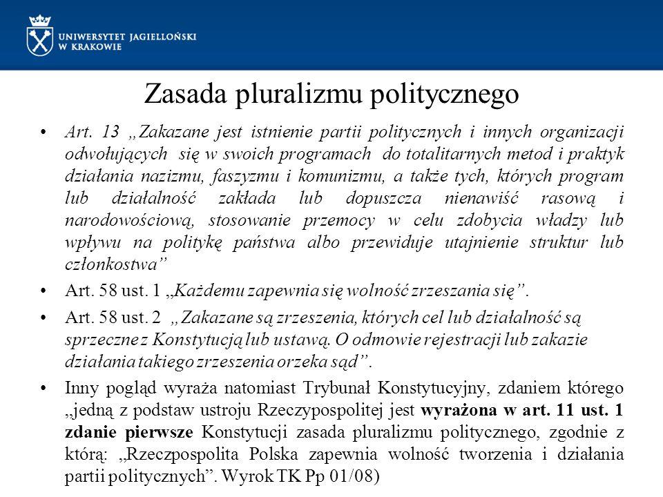 """Zasada pluralizmu politycznego Art. 13 """"Zakazane jest istnienie partii politycznych i innych organizacji odwołujących się w swoich programach do total"""