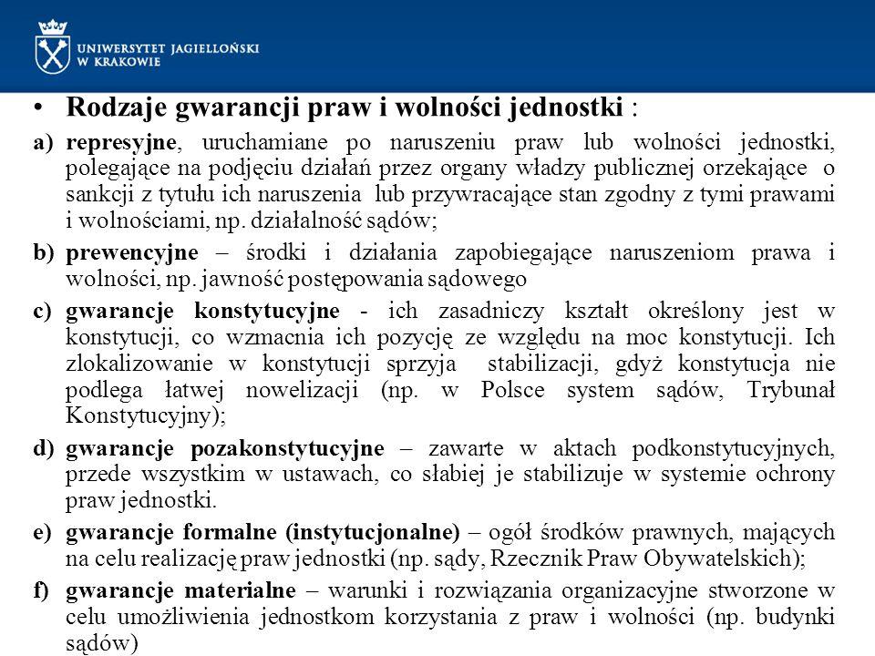Rodzaje gwarancji praw i wolności jednostki : a)represyjne, uruchamiane po naruszeniu praw lub wolności jednostki, polegające na podjęciu działań prze