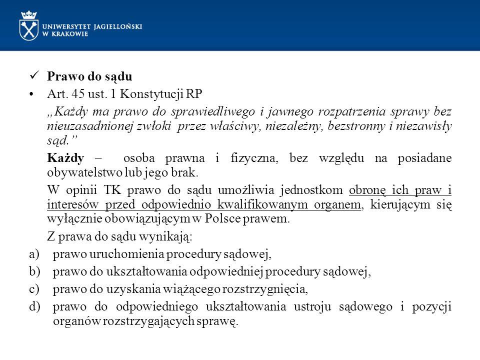 Prawo do sądu Art.45 ust.