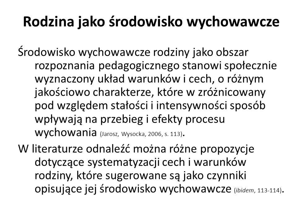 Środowisko wychowawcze rodziny jako obszar rozpoznania pedagogicznego stanowi społecznie wyznaczony układ warunków i cech, o różnym jakościowo charakterze, które w zróżnicowany pod względem stałości i intensywności sposób wpływają na przebieg i efekty procesu wychowania (Jarosz, Wysocka, 2006, s.