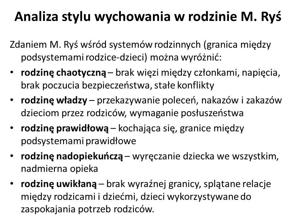 Analiza stylu wychowania w rodzinie M.Ryś Zdaniem M.