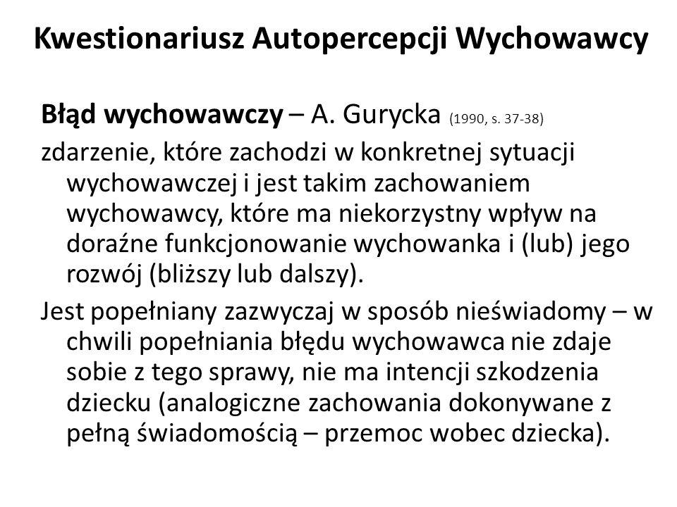 Kwestionariusz Autopercepcji Wychowawcy Błąd wychowawczy – A.