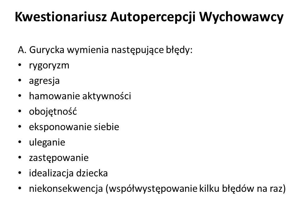 Kwestionariusz Autopercepcji Wychowawcy A.Guryckiej A.