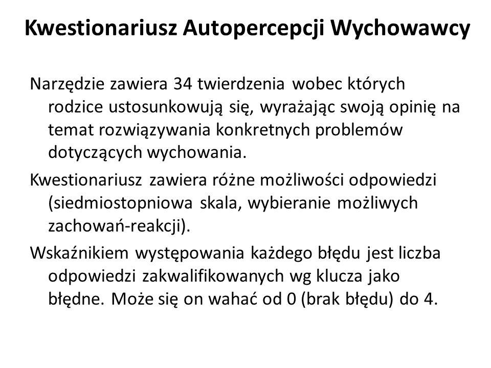 Kwestionariusz Autopercepcji Wychowawcy A.