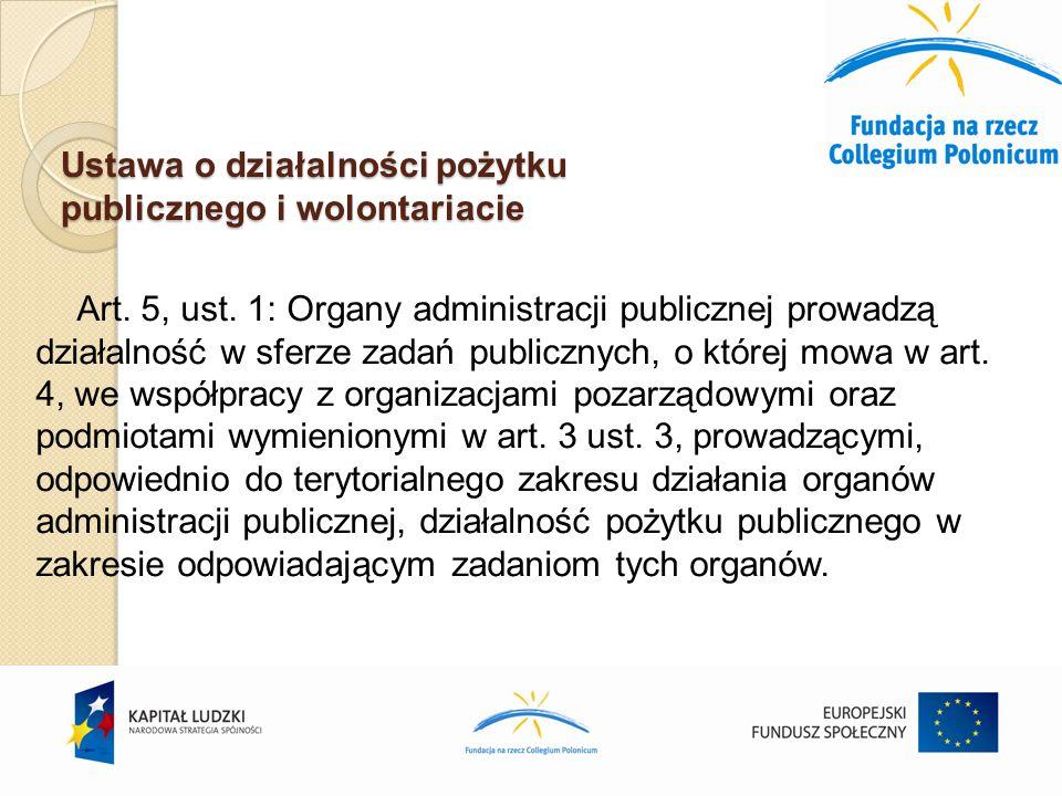 Ustawa o działalności pożytku publicznego i wolontariacie Art.