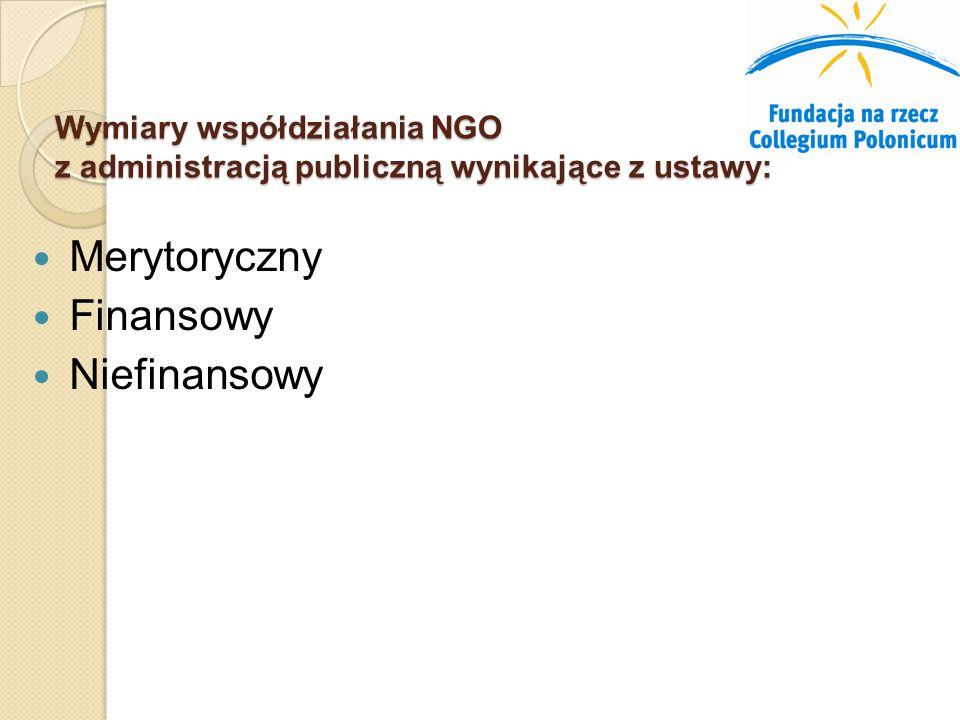Wymiary współdziałania NGO z administracją publiczną wynikające z ustawy: Merytoryczny Finansowy Niefinansowy