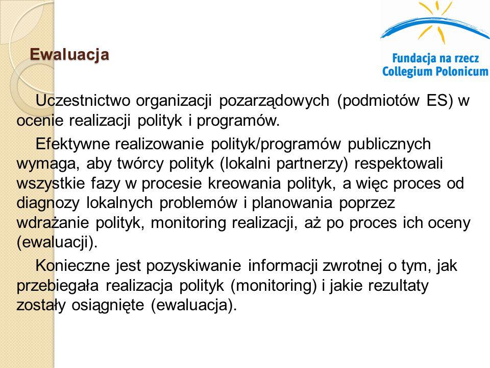 Uczestnictwo organizacji pozarządowych (podmiotów ES) w ocenie realizacji polityk i programów.