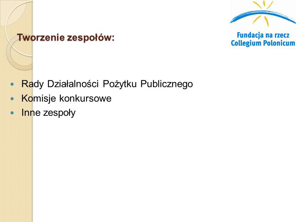Tworzenie zespołów: Rady Działalności Pożytku Publicznego Komisje konkursowe Inne zespoły