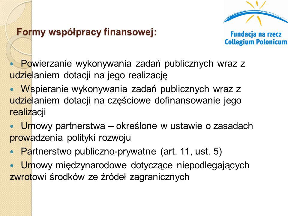 Formy współpracy finansowej: Powierzanie wykonywania zadań publicznych wraz z udzielaniem dotacji na jego realizację Wspieranie wykonywania zadań publicznych wraz z udzielaniem dotacji na częściowe dofinansowanie jego realizacji Umowy partnerstwa – określone w ustawie o zasadach prowadzenia polityki rozwoju Partnerstwo publiczno-prywatne (art.