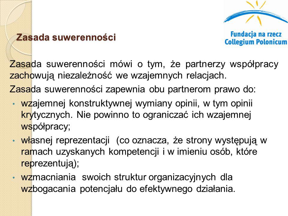 Zasada suwerenności Zasada suwerenności mówi o tym, że partnerzy współpracy zachowują niezależność we wzajemnych relacjach.