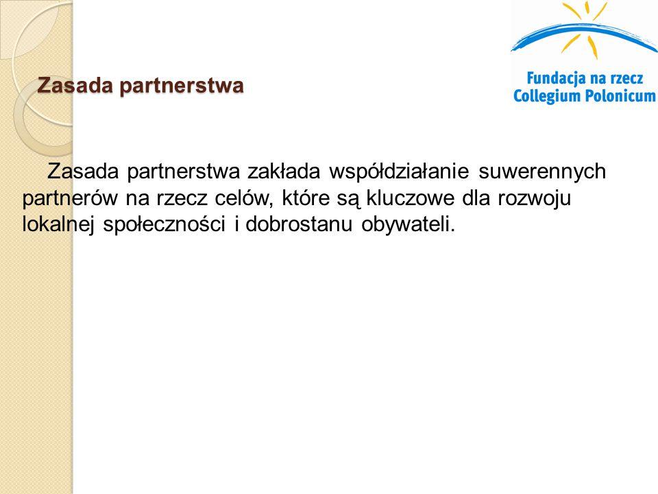 Zasada partnerstwa Zasada partnerstwa zakłada współdziałanie suwerennych partnerów na rzecz celów, które są kluczowe dla rozwoju lokalnej społeczności i dobrostanu obywateli.