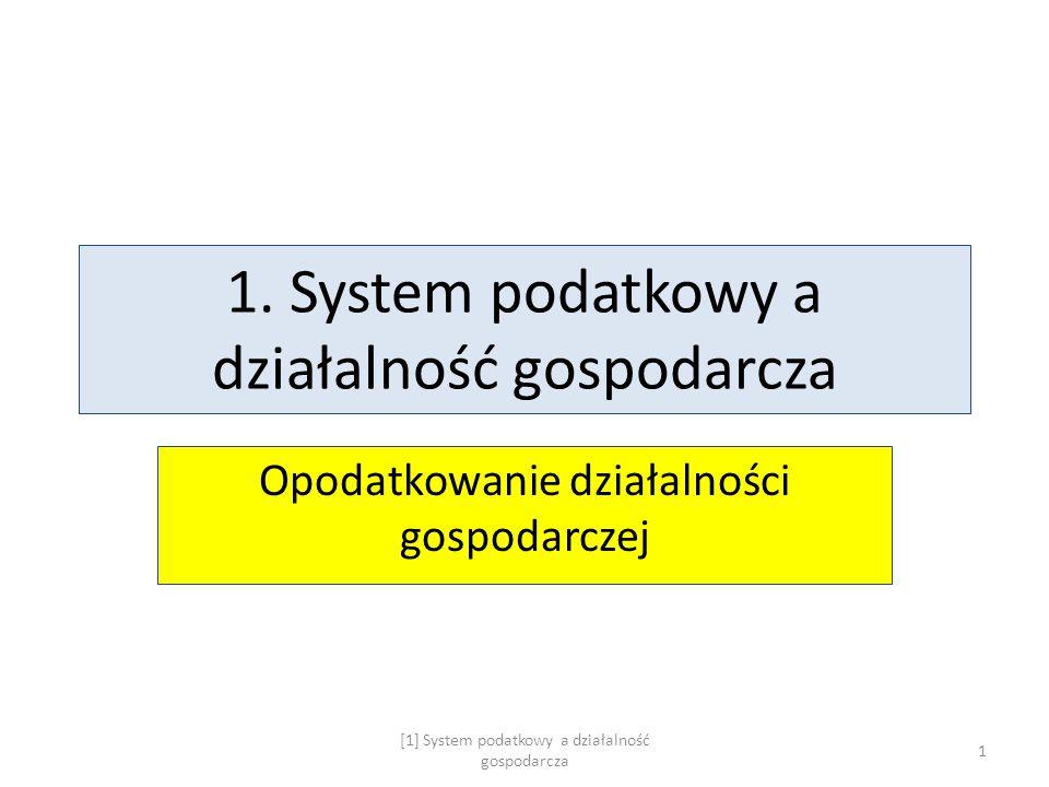 1. System podatkowy a działalność gospodarcza Opodatkowanie działalności gospodarczej [1] System podatkowy a działalność gospodarcza 1