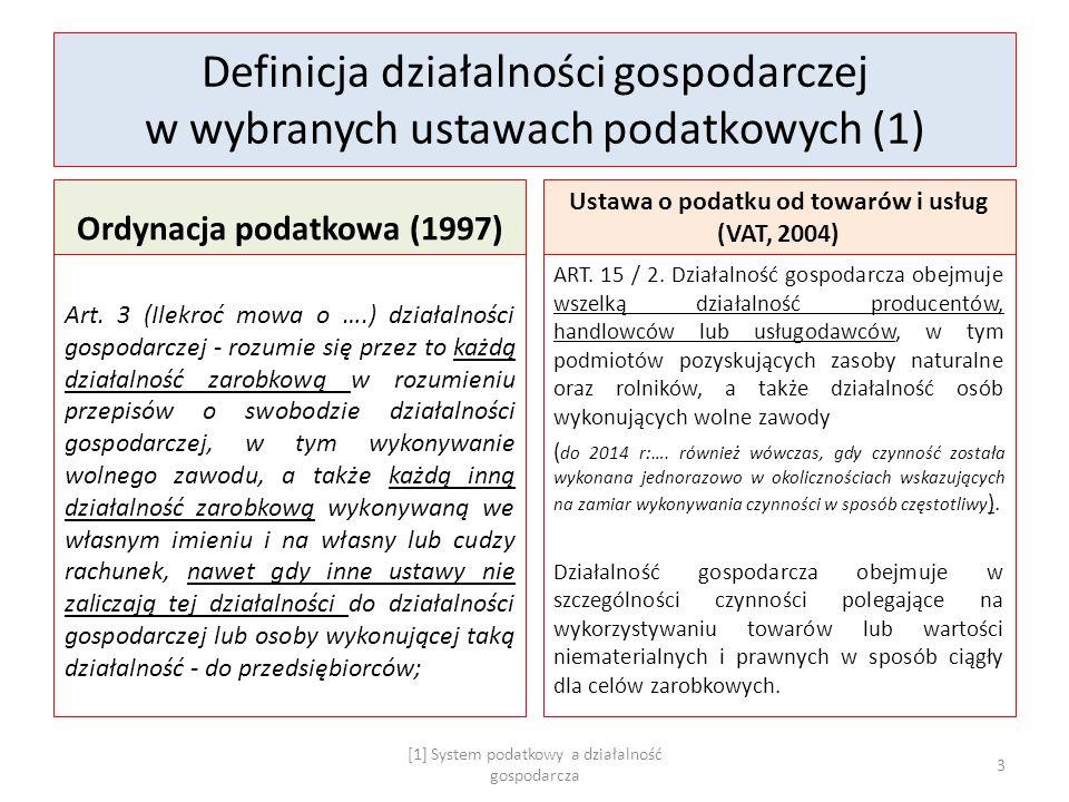 Definicja działalności gospodarczej w wybranych ustawach podatkowych (1) Ordynacja podatkowa (1997) Art. 3 (Ilekroć mowa o ….) działalności gospodarcz