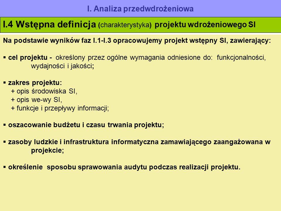 I. Analiza przedwdrożeniowa I.4 Wstępna definicja (charakterystyka) projektu wdrożeniowego SI Na podstawie wyników faz I.1-I.3 opracowujemy projekt ws