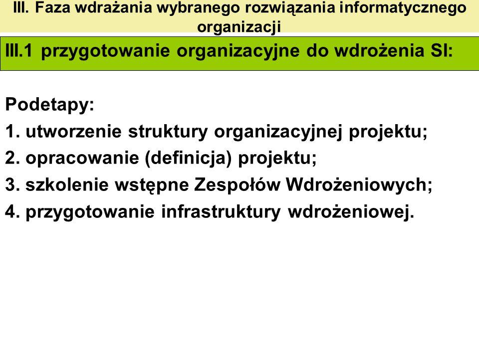 III. Faza wdrażania wybranego rozwiązania informatycznego organizacji III.1 przygotowanie organizacyjne do wdrożenia SI: Podetapy: 1. utworzenie struk
