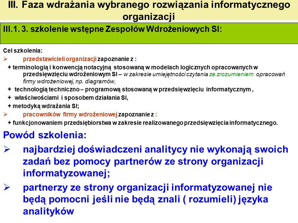 III. Faza wdrażania wybranego rozwiązania informatycznego organizacji III.1. 3. szkolenie wstępne Zespołów Wdrożeniowych SI: Cel szkolenia:  przedsta
