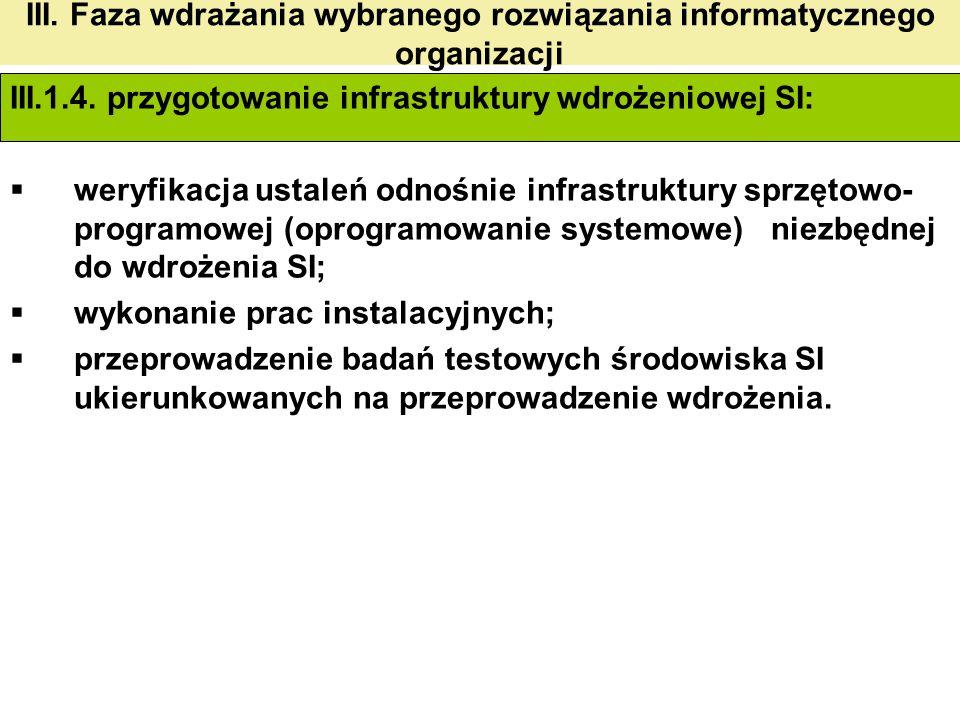 III. Faza wdrażania wybranego rozwiązania informatycznego organizacji III.1.4. przygotowanie infrastruktury wdrożeniowej SI:  weryfikacja ustaleń odn