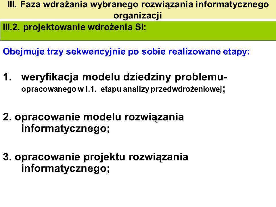 III. Faza wdrażania wybranego rozwiązania informatycznego organizacji III.2. projektowanie wdrożenia SI: Obejmuje trzy sekwencyjnie po sobie realizowa