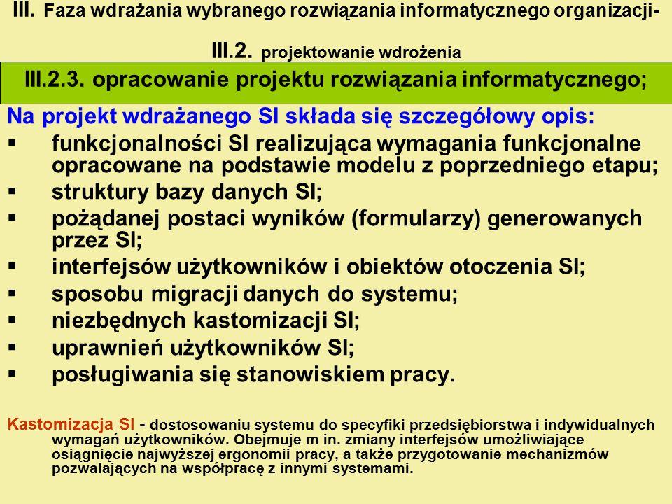 III.2.3. opracowanie projektu rozwiązania informatycznego; III. Faza wdrażania wybranego rozwiązania informatycznego organizacji- III.2. projektowanie