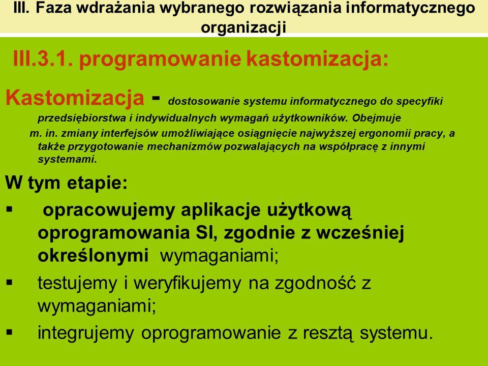 III. Faza wdrażania wybranego rozwiązania informatycznego organizacji III.3.1. programowanie kastomizacja: Kastomizacja - dostosowanie systemu informa