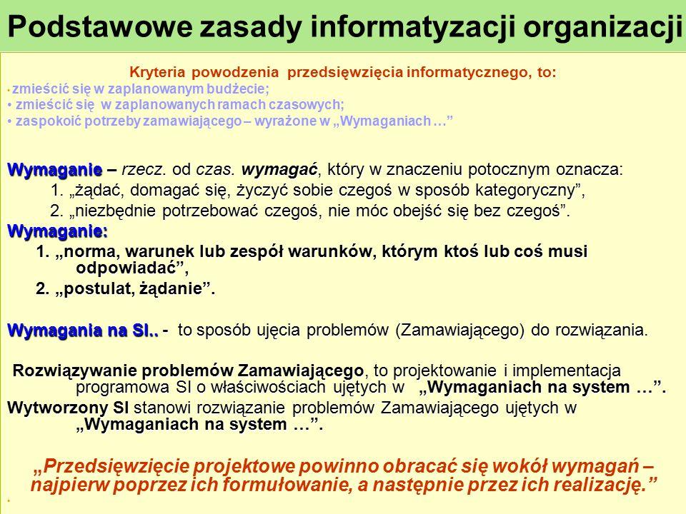 Podstawowe zasady informatyzacji organizacji Kryteria powodzenia przedsięwzięcia informatycznego, to: zmieścić się w zaplanowanym budżecie; zmieścić s