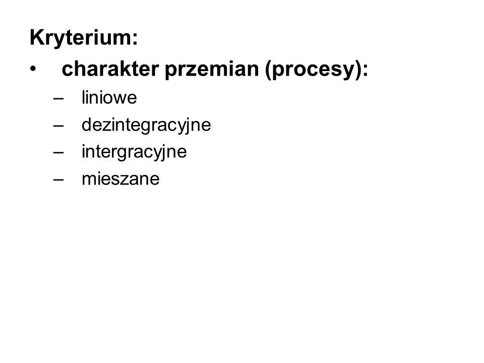 Kryterium: charakter przemian (procesy): –liniowe –dezintegracyjne –intergracyjne –mieszane