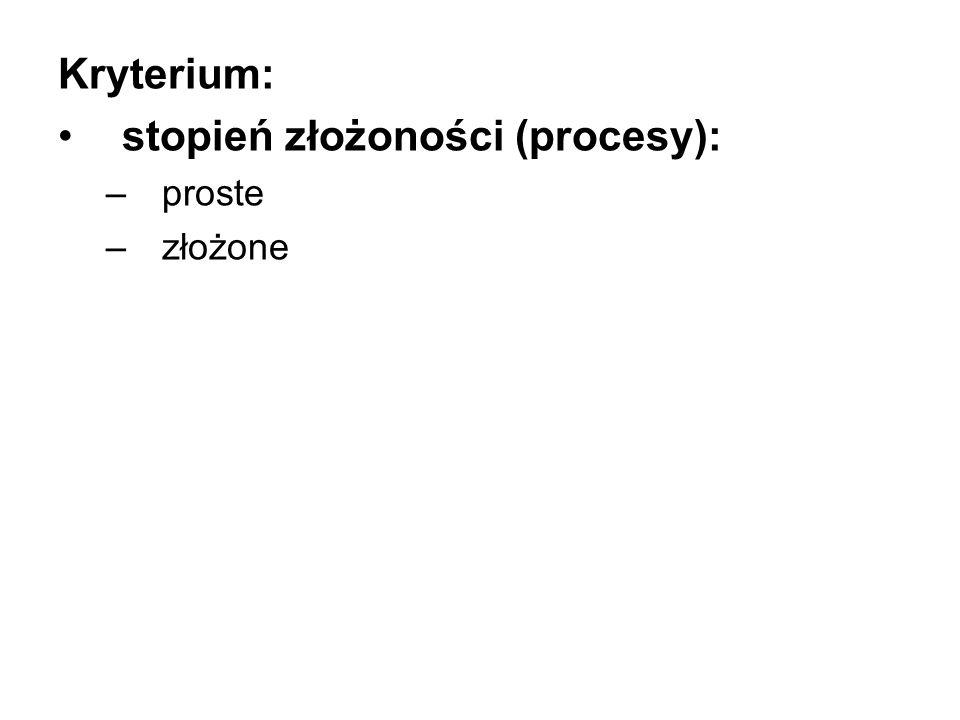 Kryterium: stopień złożoności (procesy): –proste –złożone